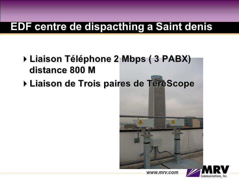 www.mrv.com EDF centre de dispacthing a Saint denis Liaison Téléphone 2 Mbps ( 3 PABX) distance 800 M Liaison Téléphone 2 Mbps ( 3 PABX) distance 800 M Liaison de Trois paires de TereScope Liaison de Trois paires de TereScope