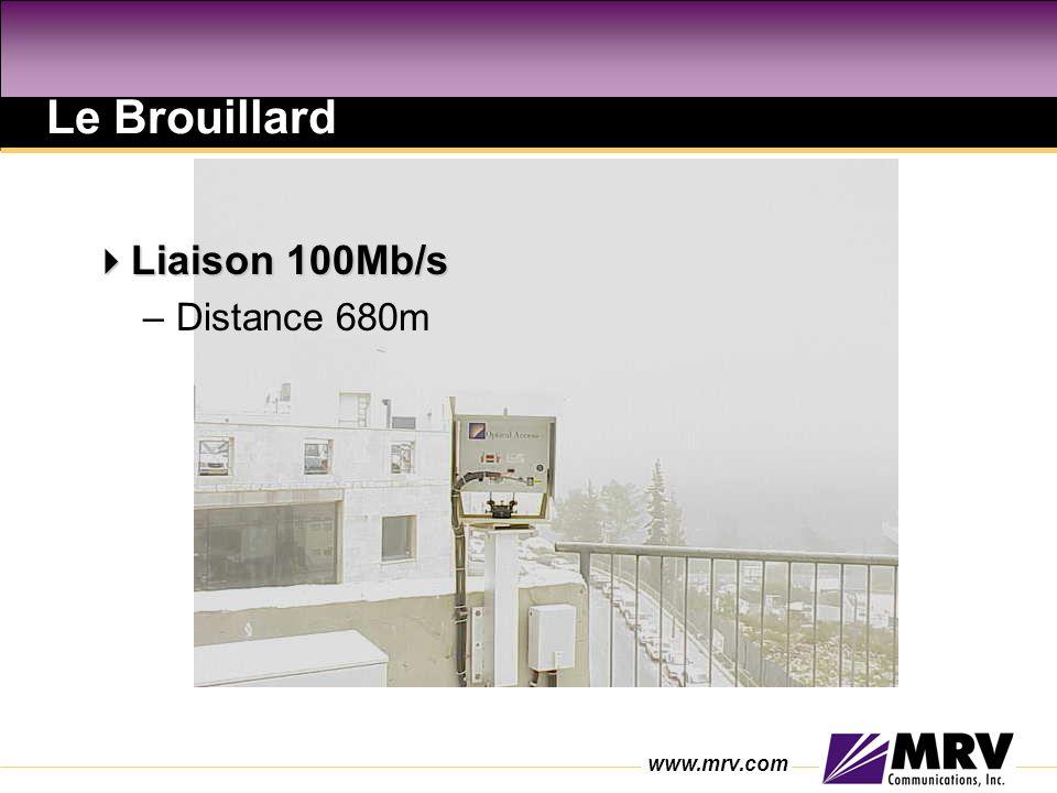 www.mrv.com Le Brouillard Liaison 100Mb/s Liaison 100Mb/s –Distance 680m