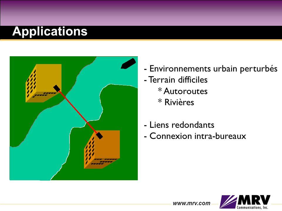 www.mrv.com - Environnements urbain perturbés - Terrain difficiles * Autoroutes * Rivières - Liens redondants - Connexion intra-bureaux Applications