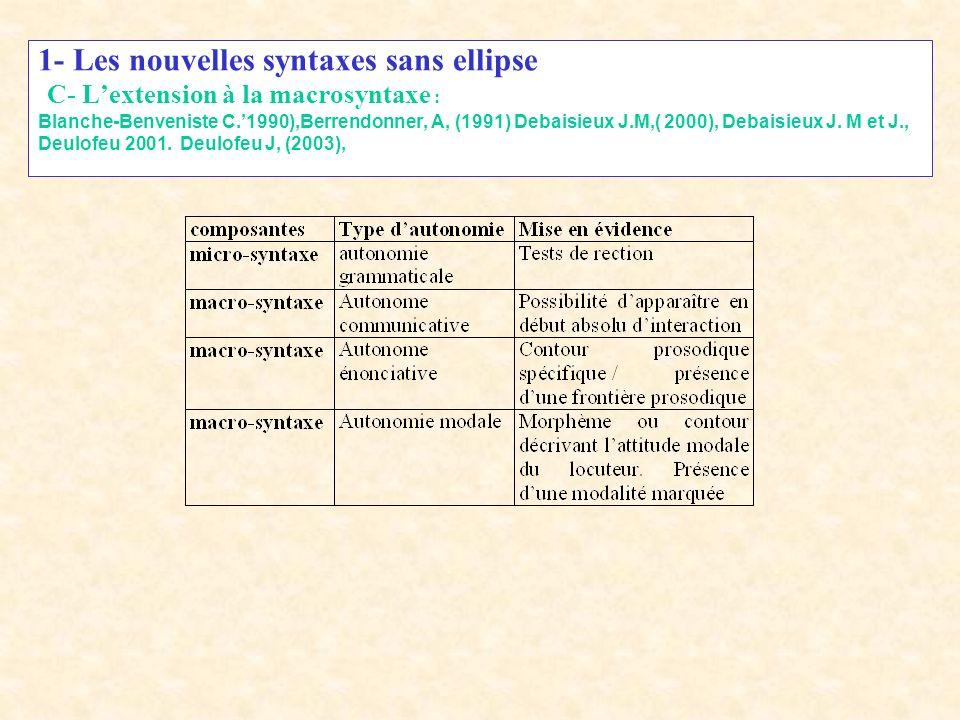 1- Les nouvelles syntaxes sans ellipse B- Les thèses de Culicover - Jackendoff Si lon remplace les trois principes précédents par les suivants : - lar