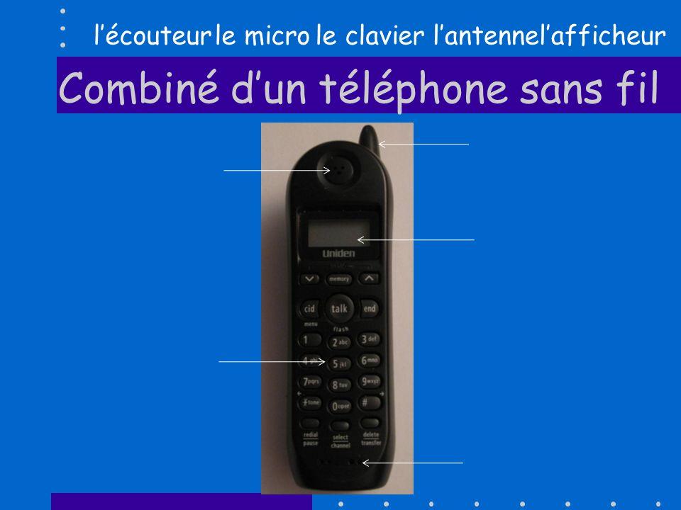 Combiné dun téléphone sans fil lécouteurlafficheurle clavierle microlantenne