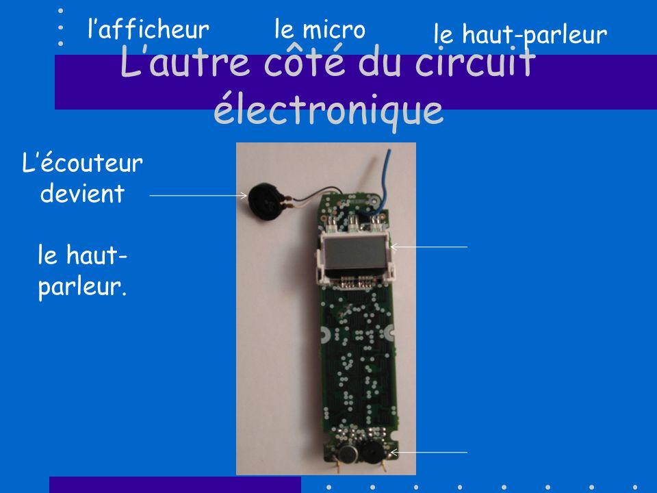 Lautre côté du circuit électronique Lécouteur devient le haut- parleur.