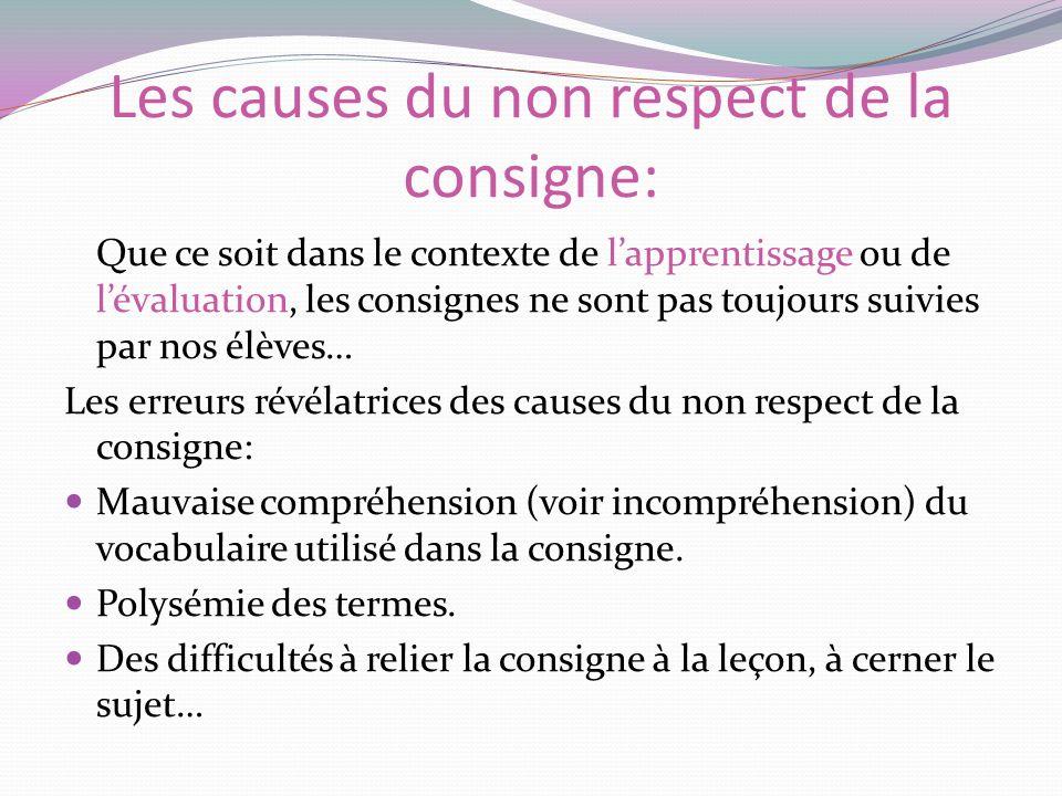 Les causes du non respect de la consigne: Que ce soit dans le contexte de lapprentissage ou de lévaluation, les consignes ne sont pas toujours suivies