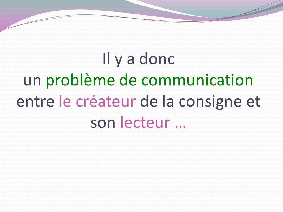 Il y a donc un problème de communication entre le créateur de la consigne et son lecteur …