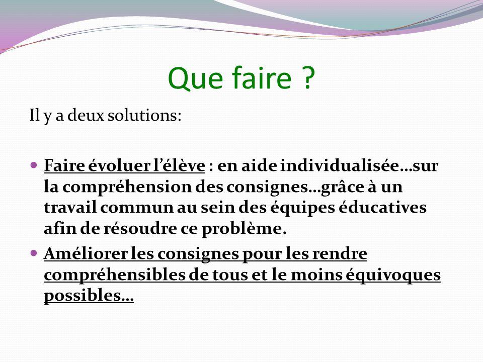 Que faire ? Il y a deux solutions: Faire évoluer lélève : en aide individualisée…sur la compréhension des consignes…grâce à un travail commun au sein