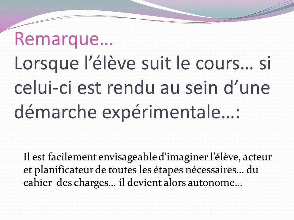 Remarque… Lorsque lélève suit le cours… si celui-ci est rendu au sein dune démarche expérimentale…: Il est facilement envisageable dimaginer lélève, a