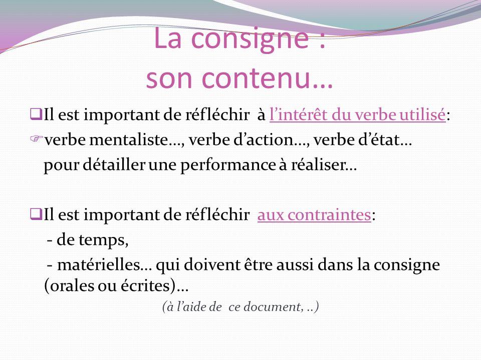 La consigne : son contenu… Il est important de réfléchir à lintérêt du verbe utilisé: verbe mentaliste…, verbe daction…, verbe détat… pour détailler u