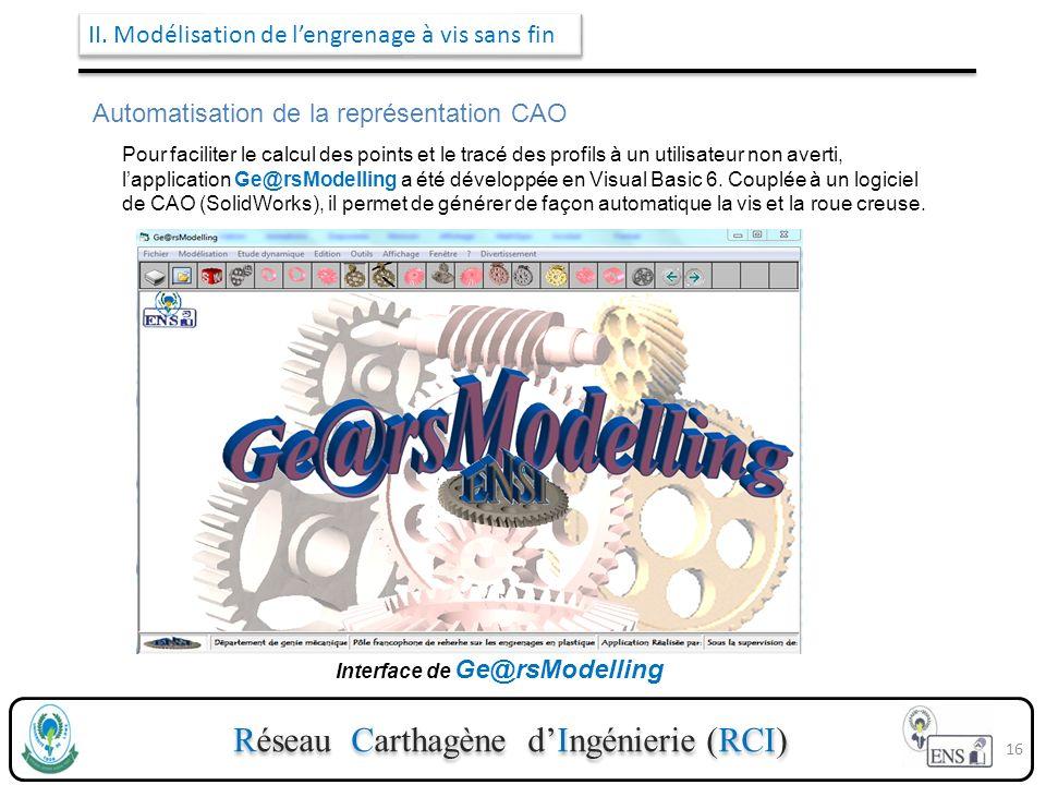 Réseau Carthagène dIngénierie (RCI) Pour faciliter le calcul des points et le tracé des profils à un utilisateur non averti, lapplication Ge@rsModelli