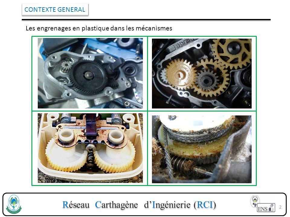 Réseau Carthagène dIngénierie (RCI) CONTEXTE GENERAL Les engrenages en plastique dans les mécanismes 2
