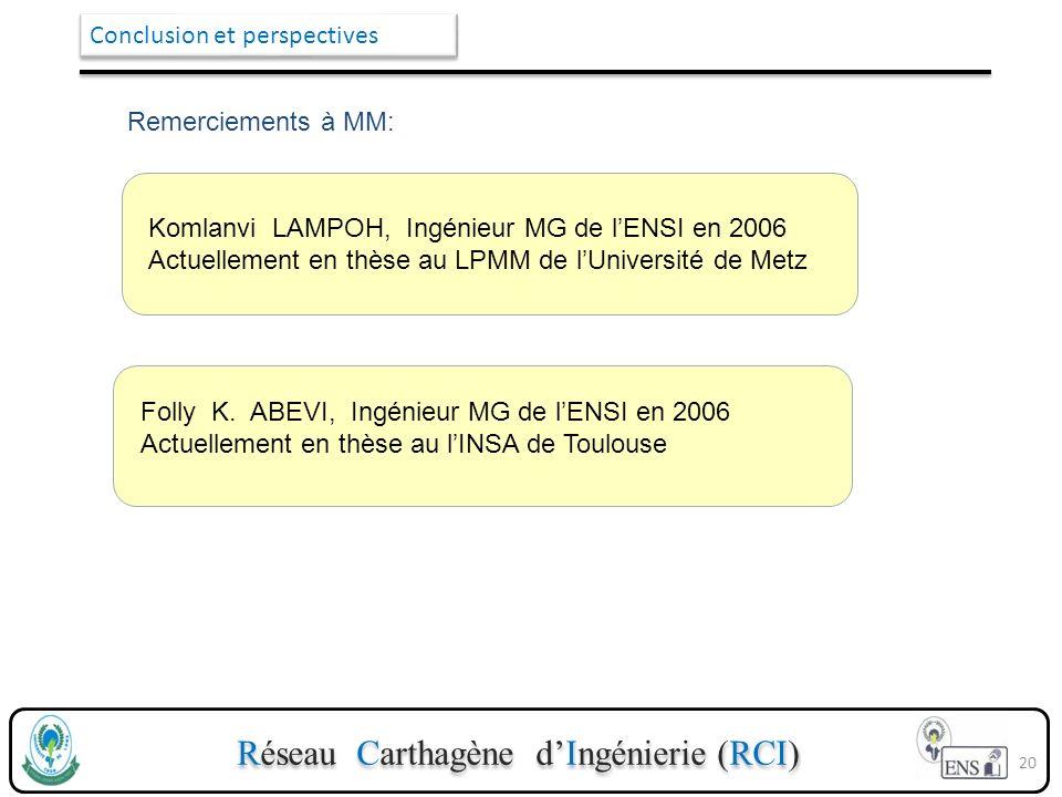 Réseau Carthagène dIngénierie (RCI) Conclusion et perspectives 20 Remerciements à MM: Komlanvi LAMPOH, Ingénieur MG de lENSI en 2006 Actuellement en t