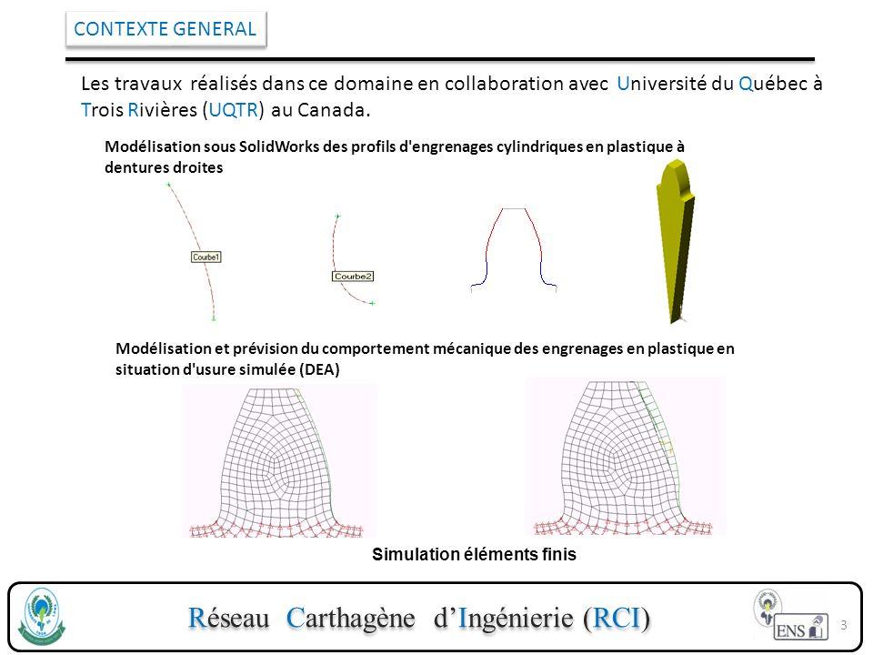 Réseau Carthagène dIngénierie (RCI) CONTEXTE GENERAL Les travaux réalisés dans ce domaine en collaboration avec Université du Québec à Trois Rivières