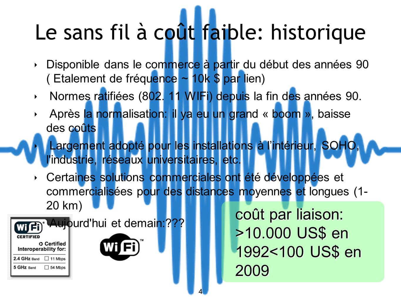 4 Le sans fil à coût faible: historique Disponible dans le commerce à partir du début des années 90 ( Etalement de fréquence ~ 10k $ par lien) Normes ratifiées (802.