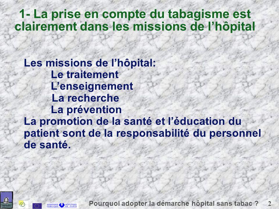 3 Pourquoi adopter la démarche hôpital sans tabac .