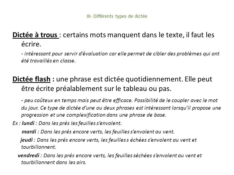 III- Différents types de dictée Dictée à trous : certains mots manquent dans le texte, il faut les écrire.