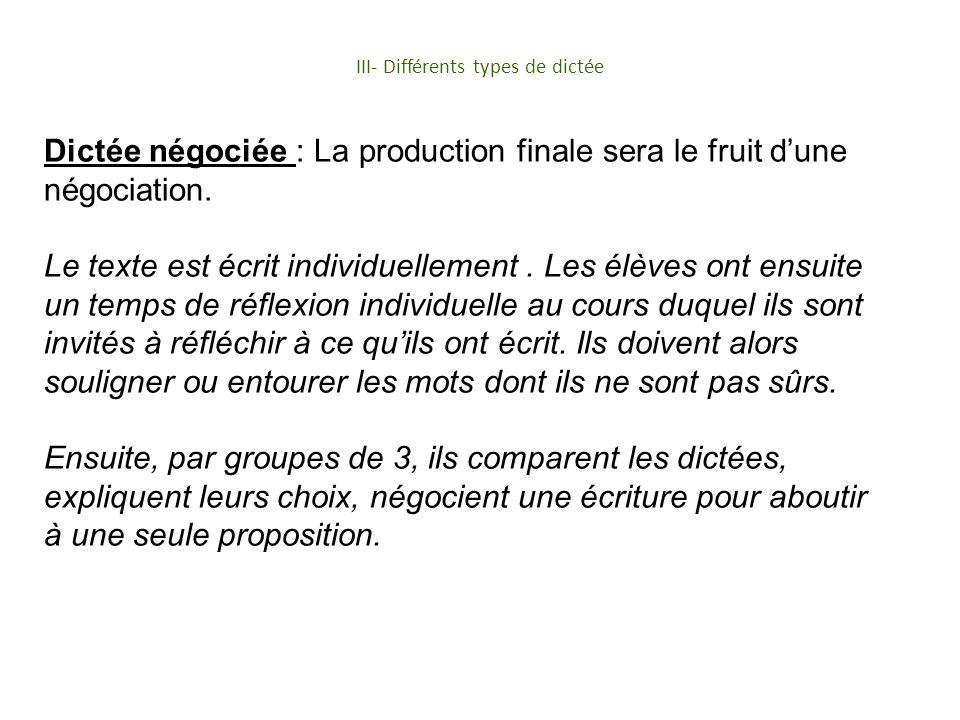 III- Différents types de dictée Dictée négociée : La production finale sera le fruit dune négociation. Le texte est écrit individuellement. Les élèves