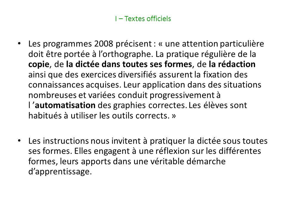 I – Textes officiels Les programmes 2008 précisent : « une attention particulière doit être portée à lorthographe.