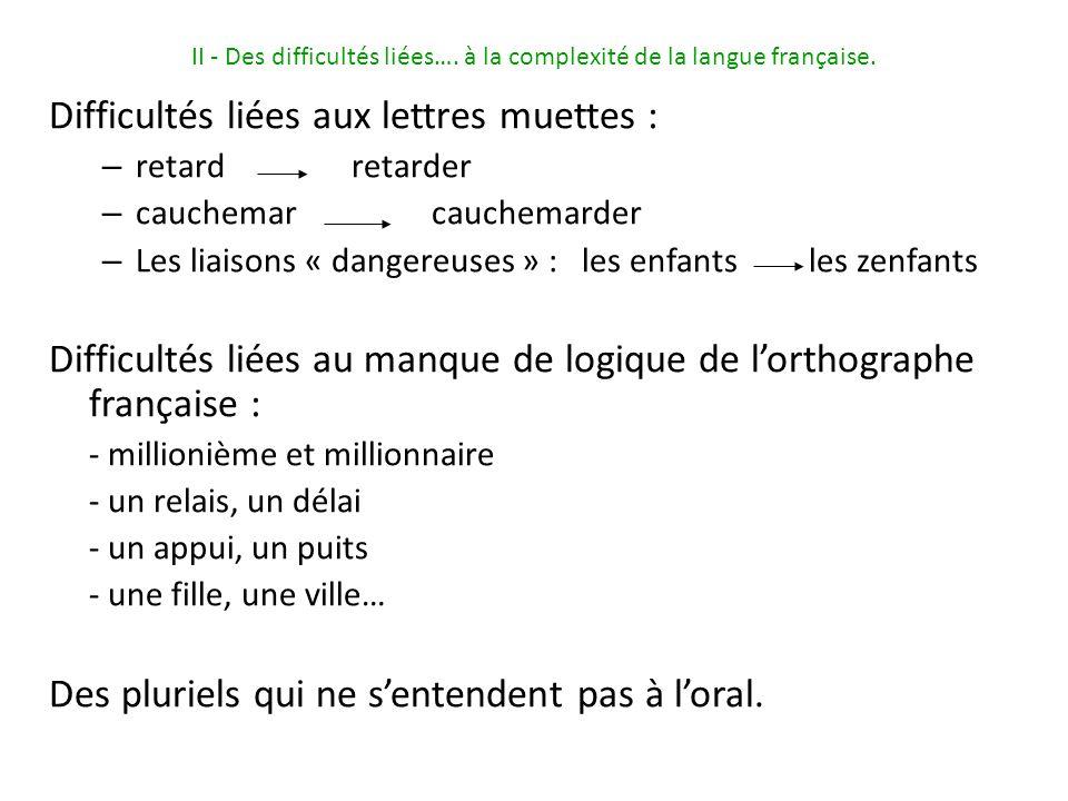 II - Des difficultés liées….à la complexité de la langue française.