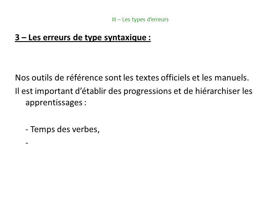 III – Les types derreurs 3 – Les erreurs de type syntaxique : Nos outils de référence sont les textes officiels et les manuels.