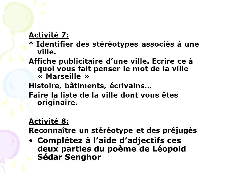 Activité 7: * Identifier des stéréotypes associés à une ville. Affiche publicitaire dune ville. Ecrire ce à quoi vous fait penser le mot de la ville «