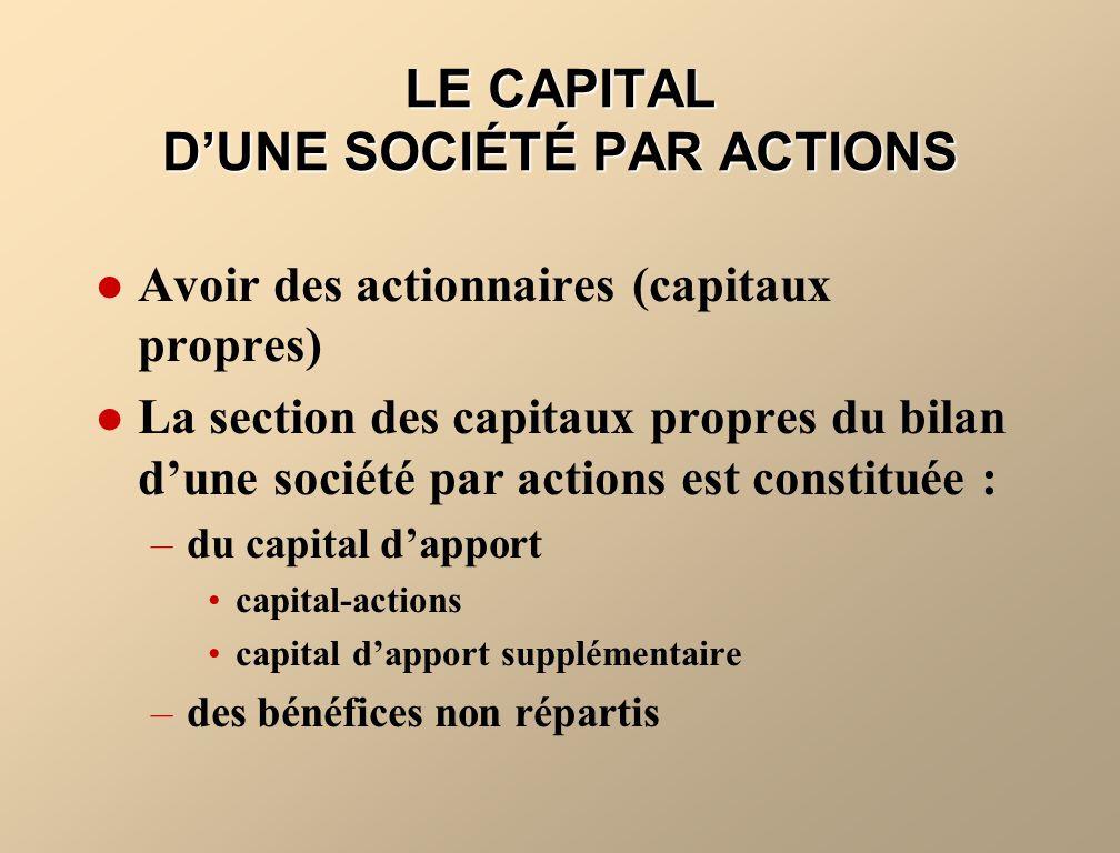 LE CAPITAL DUNE SOCIÉTÉ PAR ACTIONS Avoir des actionnaires (capitaux propres) La section des capitaux propres du bilan dune société par actions est co