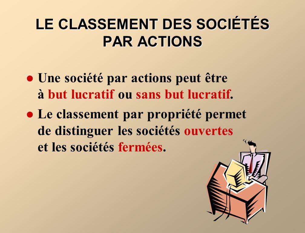 LE CLASSEMENT DES SOCIÉTÉS PAR ACTIONS Une société par actions peut être à but lucratif ou sans but lucratif. Le classement par propriété permet de di