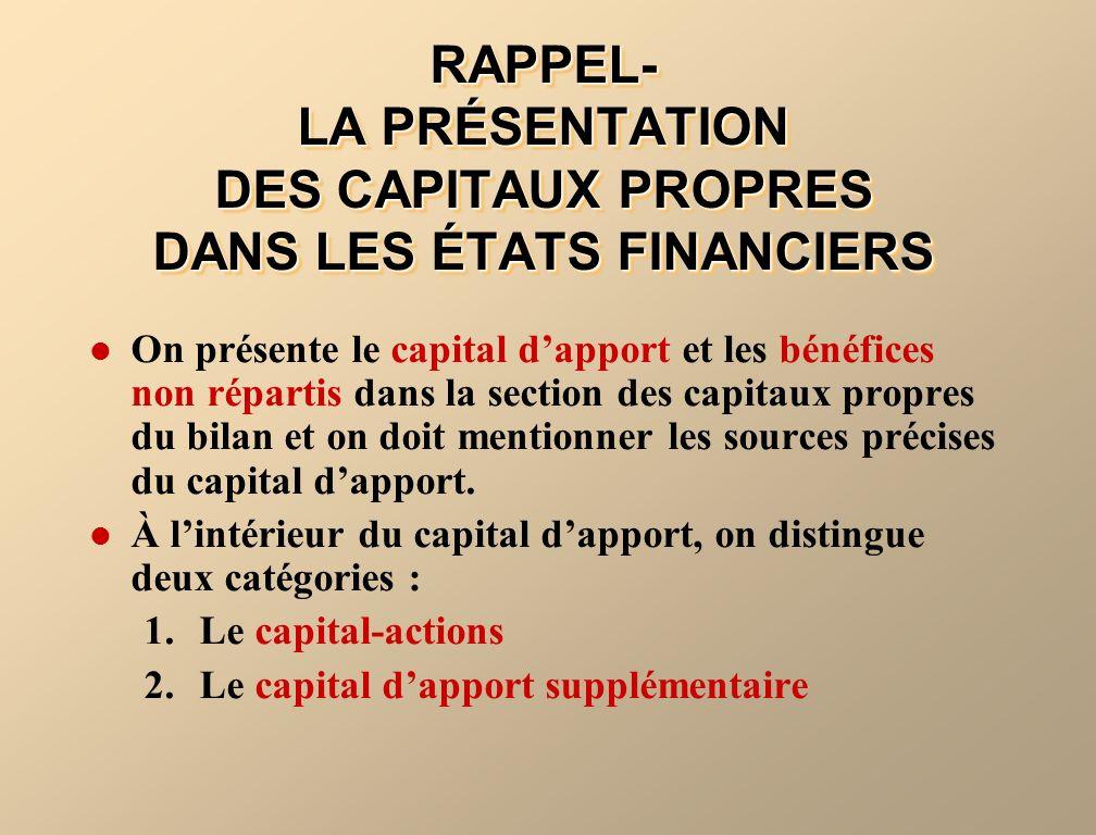 RAPPEL- LA PRÉSENTATION DES CAPITAUX PROPRES DANS LES ÉTATS FINANCIERS On présente le capital dapport et les bénéfices non répartis dans la section de