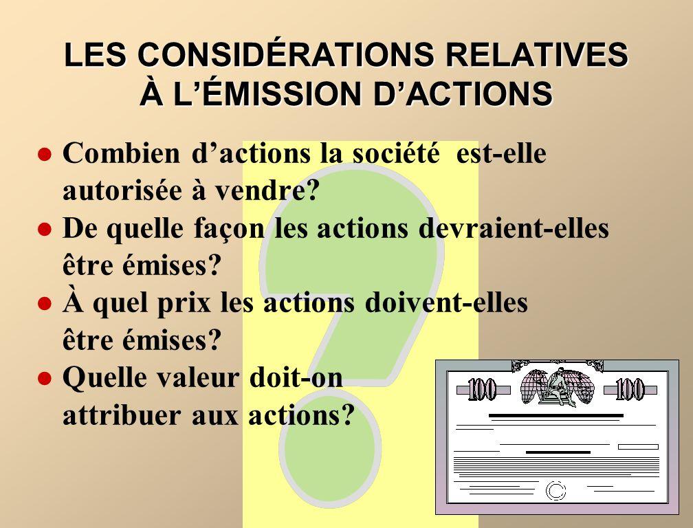 LES ACTIONS RACHETÉES Les actions rachetées sont les propres actions dune société par actions qui ont été émises, payées et rachetées par cette société.