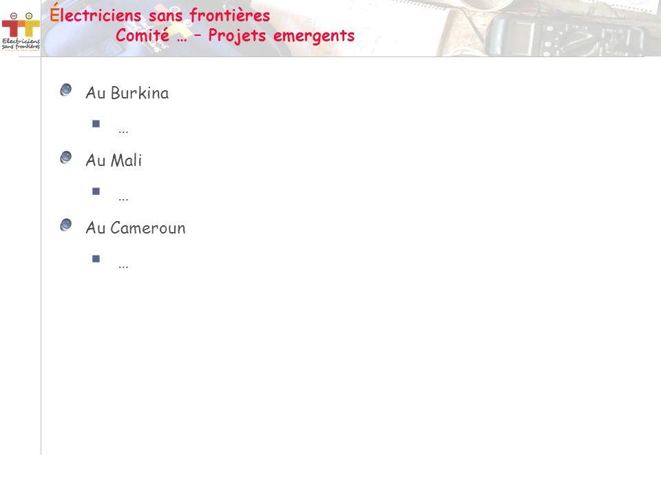 Au Burkina … Au Mali … Au Cameroun … Électriciens sans frontières Comité … – Projets emergents