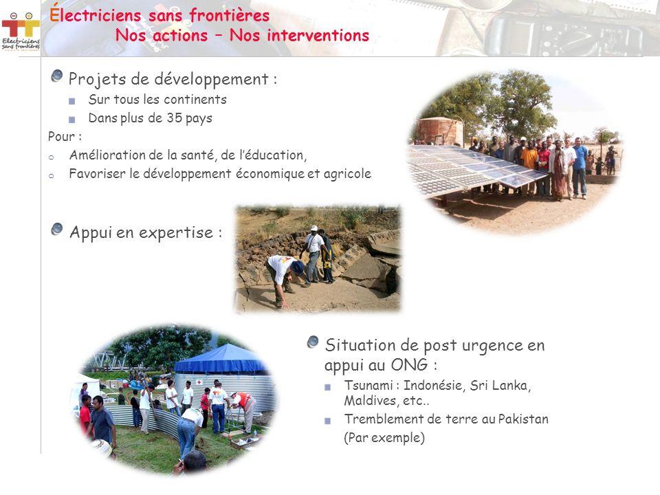 Projets de développement : Sur tous les continents Dans plus de 35 pays Pour : o Amélioration de la santé, de léducation, o Favoriser le développement