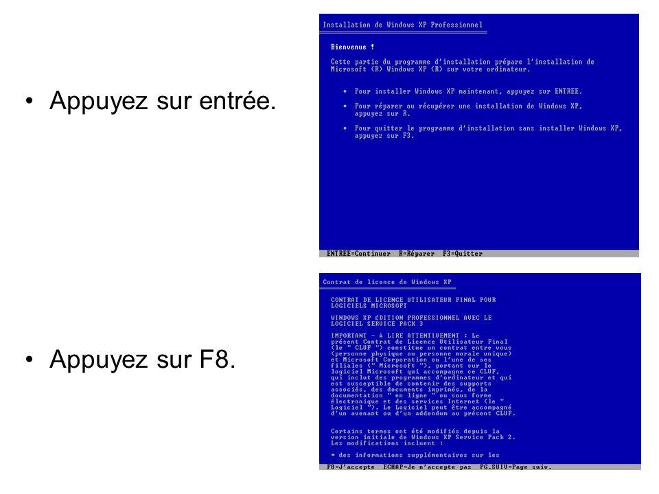 Sélectionnez lespace non partitionné et appuyez sur C pour créer une nouvelle partition.