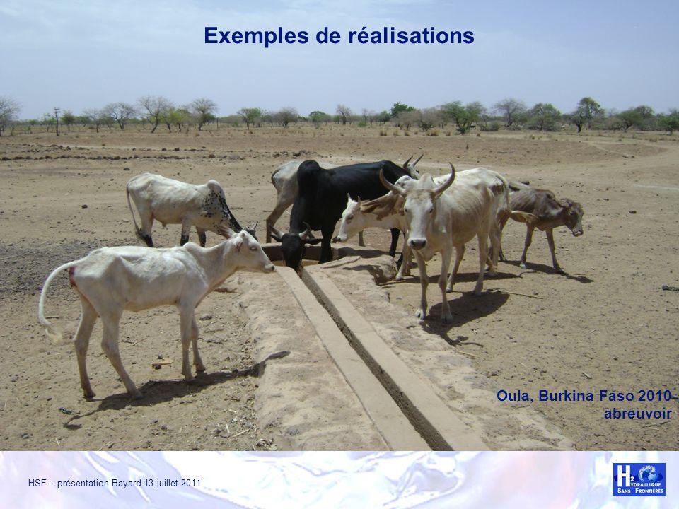 HSF – présentation Bayard 13 juillet 2011 Oula, Burkina Faso 2010 abreuvoir Exemples de réalisations