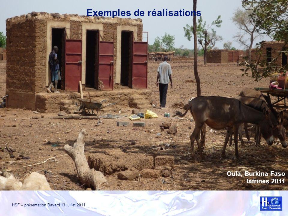 HSF – présentation Bayard 13 juillet 2011 Oula, Burkina Faso latrines 2011 Exemples de réalisations