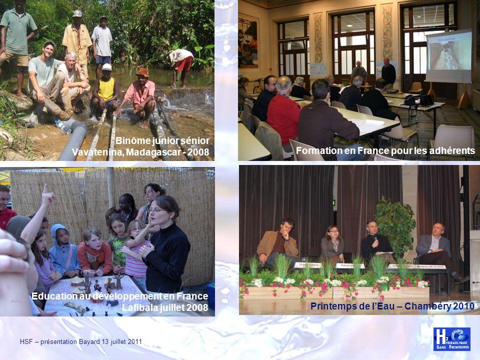 HSF – présentation Bayard 13 juillet 2011 Binôme junior sénior Vavatenina, Madagascar - 2008 Formation en France pour les adhérents Education au dével