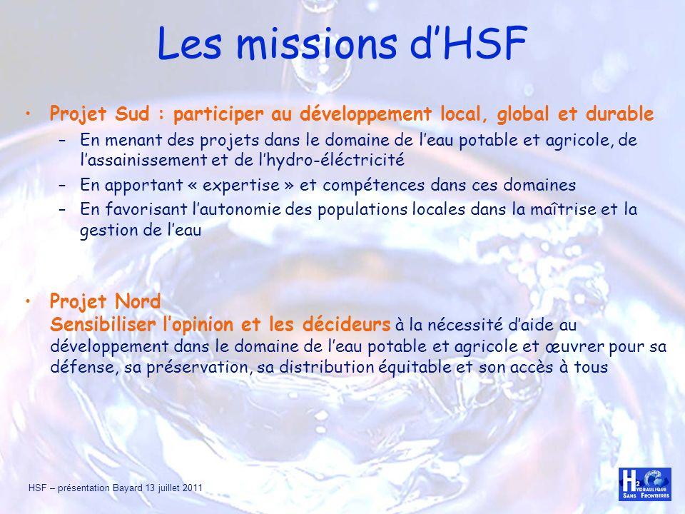 HSF – présentation Bayard 13 juillet 2011 Les missions dHSF Projet Sud : participer au développement local, global et durable –En menant des projets d
