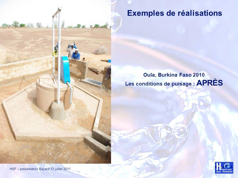 HSF – présentation Bayard 13 juillet 2011 Oula, Burkina Faso 2010 Les conditions de puisage : APRÈS Exemples de réalisations