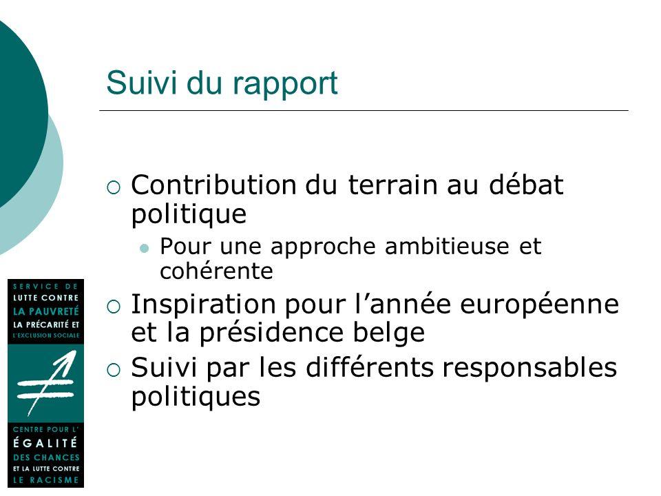 Suivi du rapport Contribution du terrain au débat politique Pour une approche ambitieuse et cohérente Inspiration pour lannée européenne et la présidence belge Suivi par les différents responsables politiques