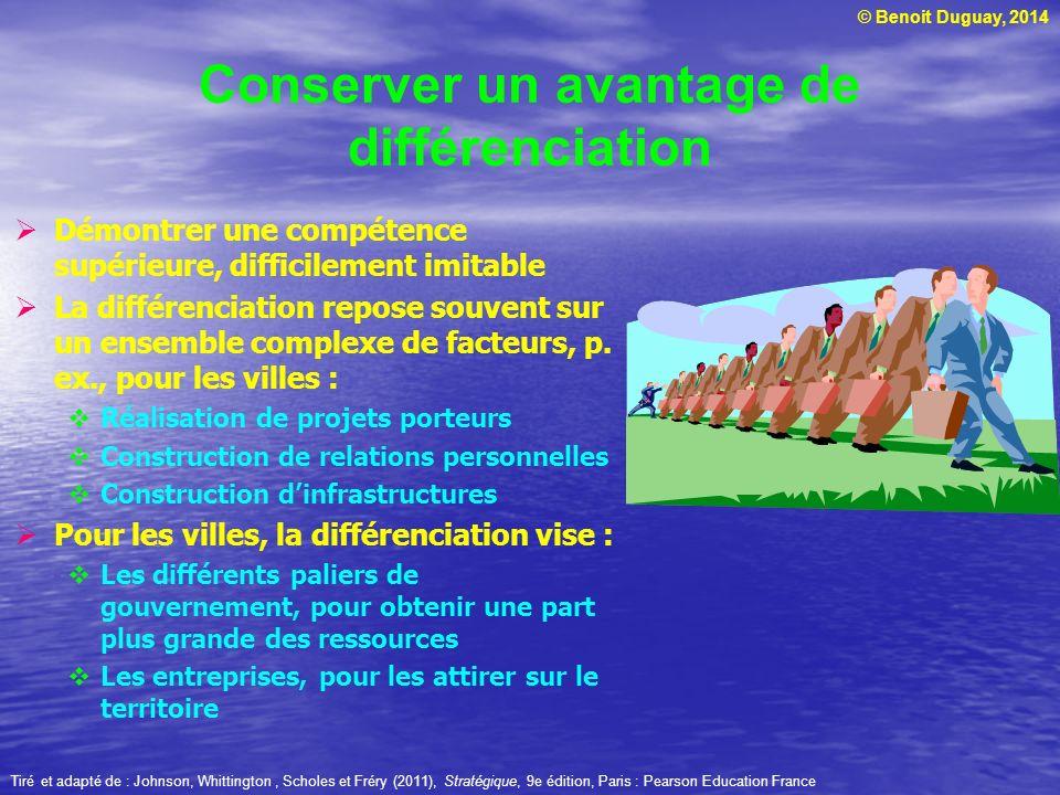 © Benoit Duguay, 2014 Démontrer une compétence supérieure, difficilement imitable La différenciation repose souvent sur un ensemble complexe de facteu