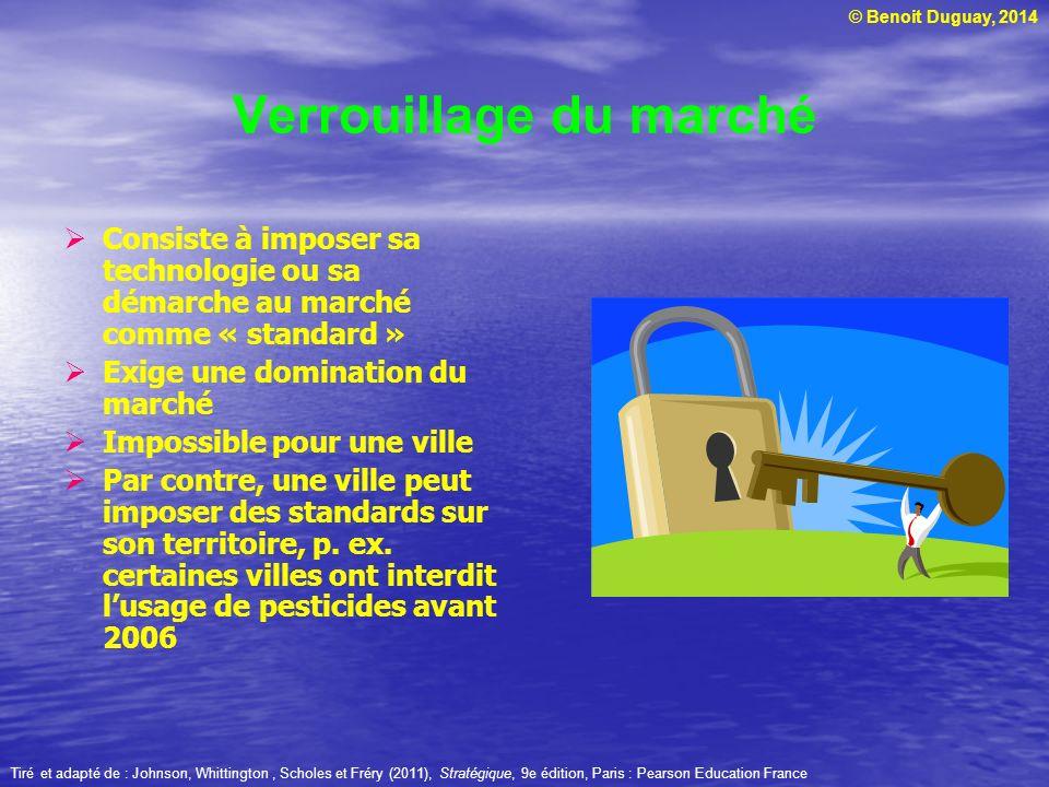 © Benoit Duguay, 2014 Verrouillage du marché Consiste à imposer sa technologie ou sa démarche au marché comme « standard » Exige une domination du mar