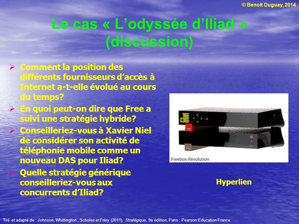 © Benoit Duguay, 2014 Le cas « Lodyssée dIliad » (discussion) Comment la position des différents fournisseurs daccès à Internet a-t-elle évolué au cou