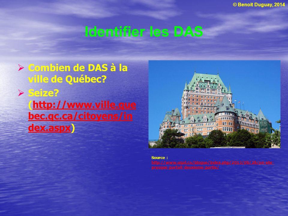 © Benoit Duguay, 2014 Identifier les DAS Combien de DAS à la ville de Québec? Seize? (http://www.ville.que bec.qc.ca/citoyens/in dex.aspx)http://www.v