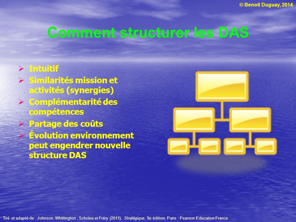 © Benoit Duguay, 2014 Comment structurer les DAS Intuitif Similarités mission et activités (synergies) Complémentarité des compétences Partage des coû