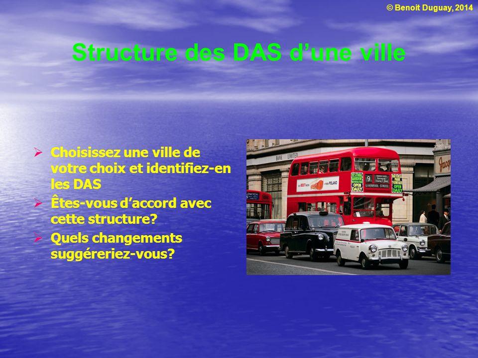 © Benoit Duguay, 2014 Structure des DAS dune ville Choisissez une ville de votre choix et identifiez-en les DAS Êtes-vous daccord avec cette structure