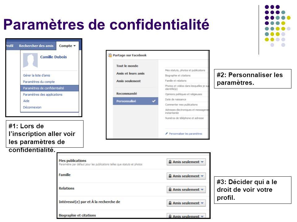 Paramètres de confidentialité #1: Lors de linscription aller voir les paramètres de confidentialité. #2: Personnaliser les paramètres. #3: Décider qui
