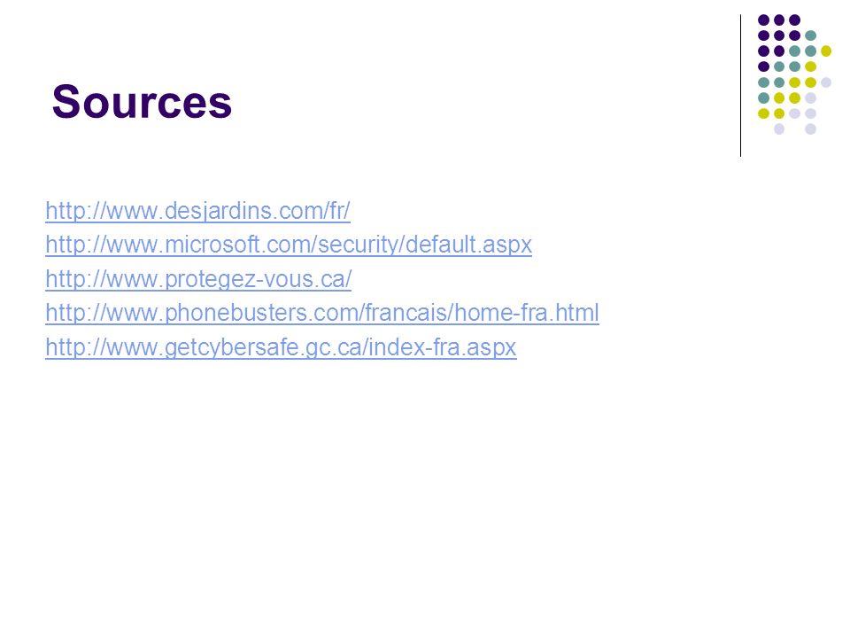 Sources http://www.desjardins.com/fr/ http://www.microsoft.com/security/default.aspx http://www.protegez-vous.ca/ http://www.phonebusters.com/francais