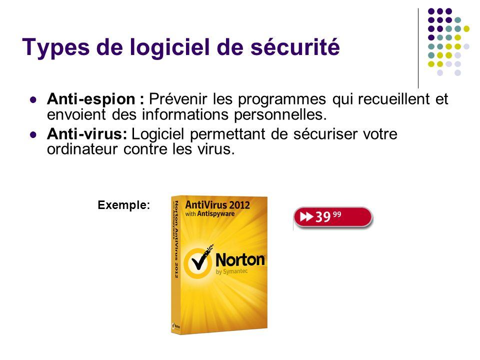 Types de logiciel de sécurité Anti-espion : Prévenir les programmes qui recueillent et envoient des informations personnelles. Anti-virus: Logiciel pe