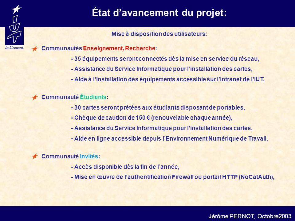 État davancement du projet: Jérôme PERNOT, Octobre2003 Communautés Enseignement, Recherche: - 35 équipements seront connectés dès la mise en service d