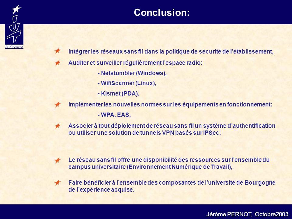 Conclusion: Jérôme PERNOT, Octobre2003 Intégrer les réseaux sans fil dans la politique de sécurité de létablissement, Le réseau sans fil offre une dis