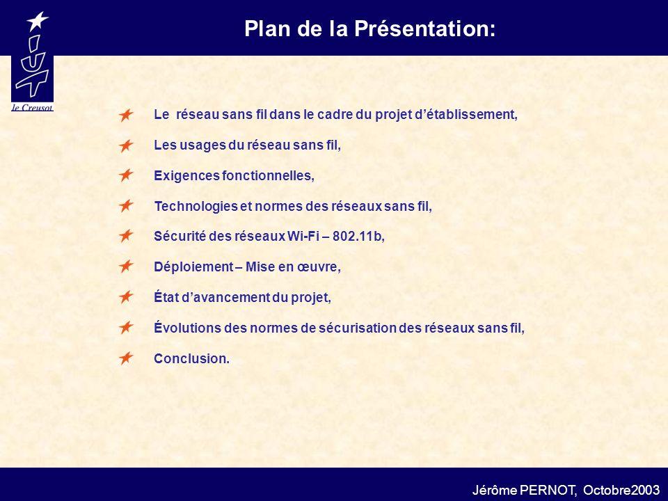 Plan de la Présentation: Jérôme PERNOT, Octobre2003 Les usages du réseau sans fil, Exigences fonctionnelles, Déploiement – Mise en œuvre, Évolutions d