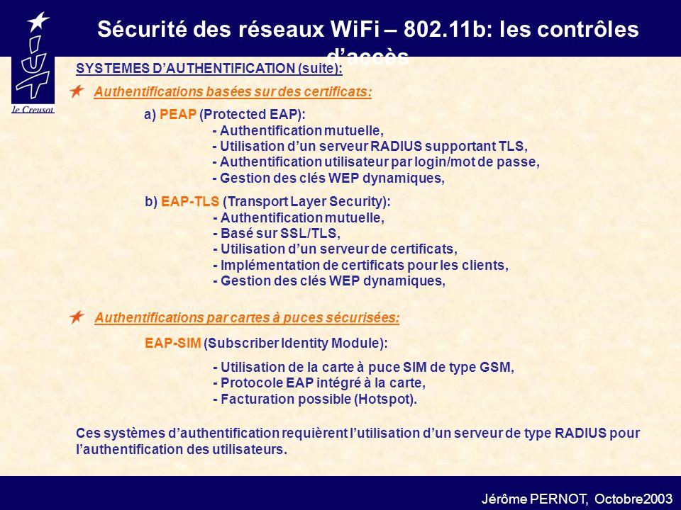 Sécurité des réseaux WiFi – 802.11b: les contrôles daccès Jérôme PERNOT, Octobre2003 a) PEAP (Protected EAP): - Authentification mutuelle, - Utilisati