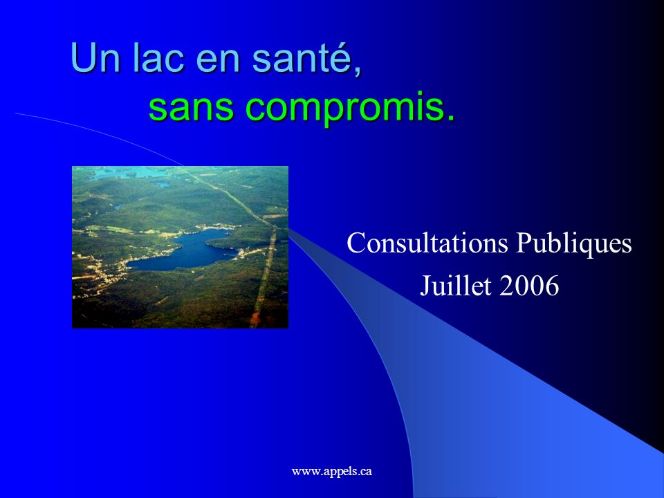 www.appels.ca Plan Introduction: une approche globale Comprendre le phosphore La situation du lac Sergent Solutions…